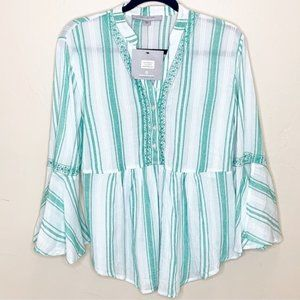 Andrew Marc NY Embroidered Striped Gauzy Blouse
